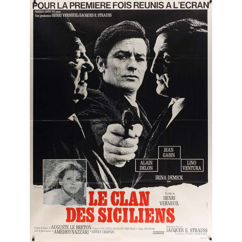 CLAN OF SICILIANS French Movie Poster 15x21 '69 Delon, Gabin, Ventura
