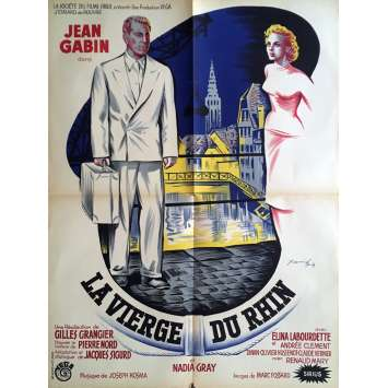 RHINE VIRGIN French Movie Poster 23x32- 1953 - Gilles Grangier, Jean Gabin