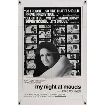 MY NIGHT AT MAUD'S Movie Poster 27x40 in. - 1969 - Eric Rohmer, Jean-Louis Trintignant