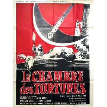 LA CHAMBRE DES TORTURES Affiche de film 120x160 - 1961 - Vincent Price, Roger Corman