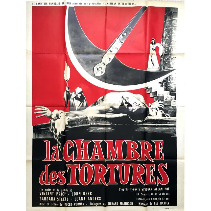 THE PIT AND THE PENDULUM French Movie Poster 47x63 - 1961 - Roger Corman, Vincent Price
