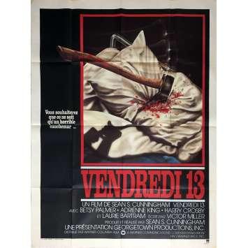 VENDREDI 13 Affiche de film 120x160 cm - 1980 - Kevin Bacon, Sean S. Cunningham