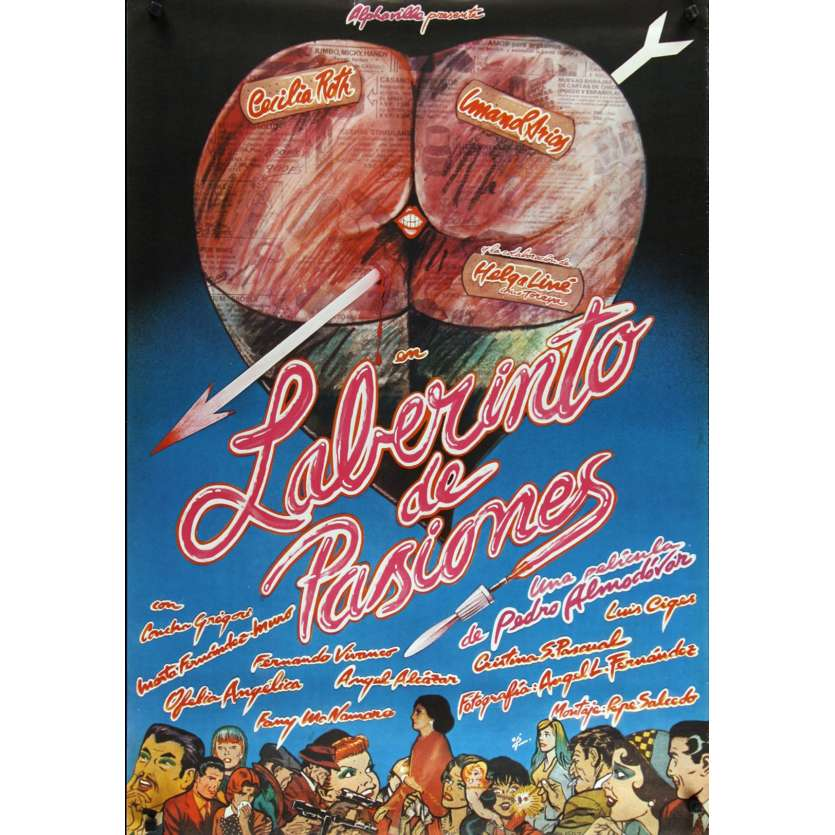 LABYRINTH OF PASSION Spanish Movie Poster '82 Pedro Almodovar's Laberinto de pasiones