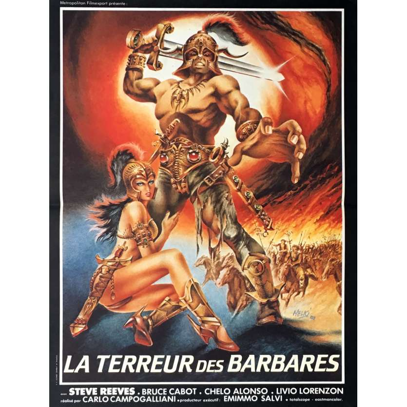 GOLIATH AND THE BARBARIANS Movie Poster 15x21 in. - 1983 - Carlo Campogalliani, Steve Reeves