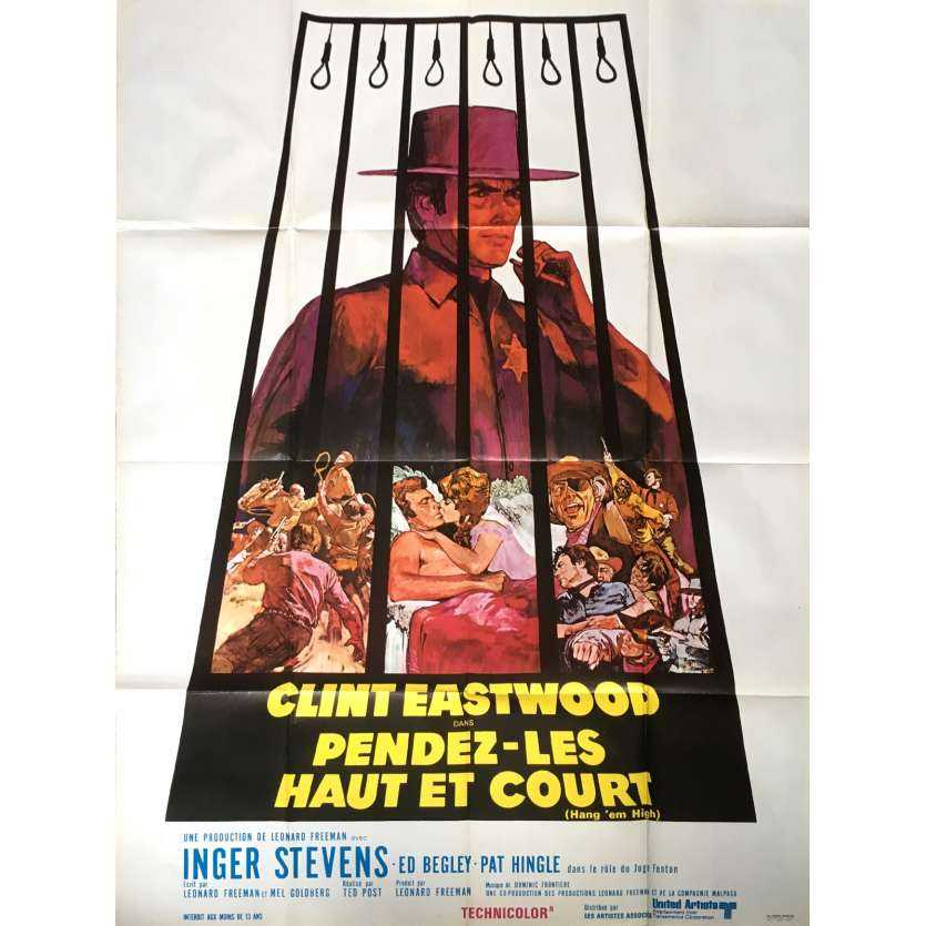 HANG'EM HIGH French Movie Poster 47x63 - 1968 - ted Post, Clint Eastwood
