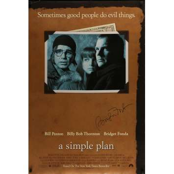 UN PLAN SIMPLE Affiche signée 69x101 cm - 1998 - Bridget Fonda, Sam Raimi