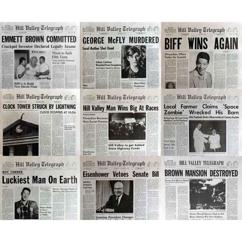 RETOUR VERS LE FUTUR Lot de 11 journaux - Répliques parfaites ! BTTF Newspapers