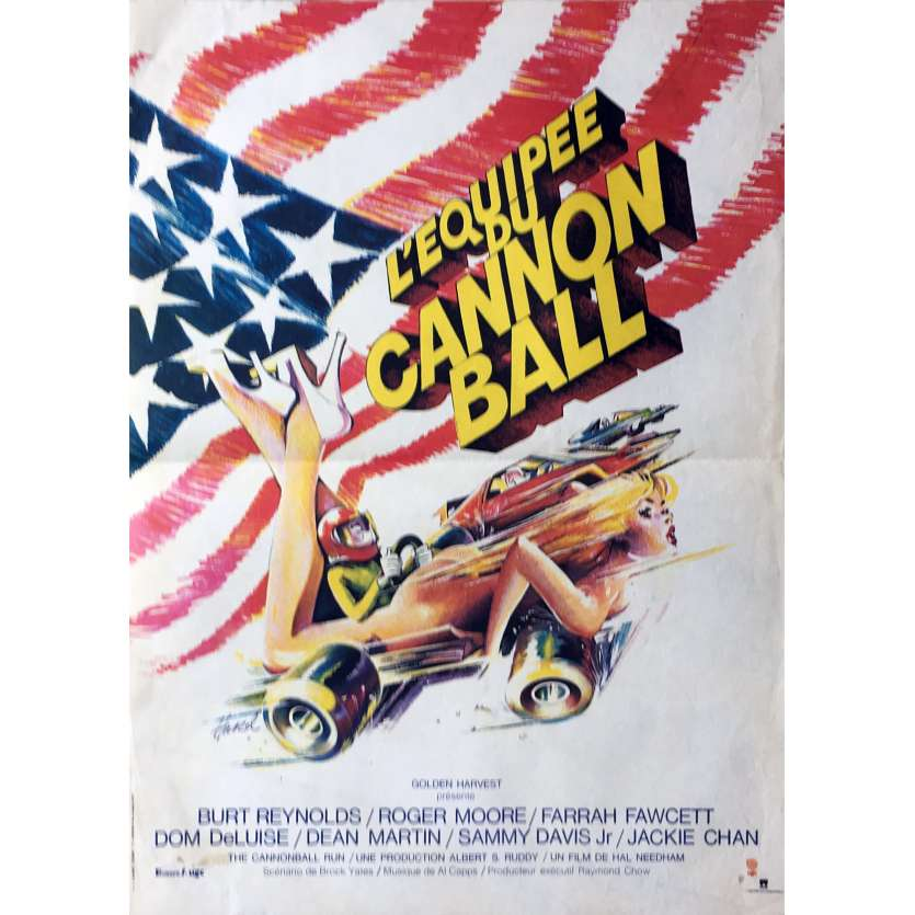 CANNONBALL French Movie Poster 15x21 '81 Burt Reynolds, Roger Moore