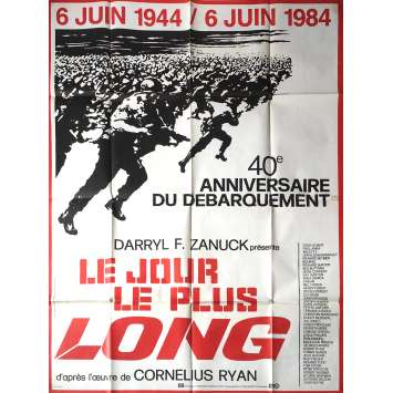 THE LONGEST DAY Movie Poster 47x63 in. French - R1984 - Ken Annakin, John Wayne, Dean Martin