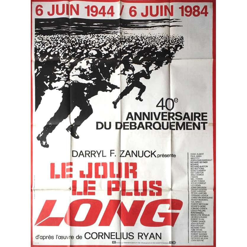 THE LONGEST DAY Movie Poster 47x63 in. French - R1984 - Ken Annakin, John Wayne, Dean Martin