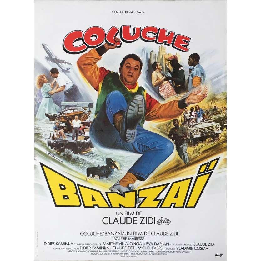BANZAI Affiche de film 40x60 - 1983 - Coluche, Claude Zidi