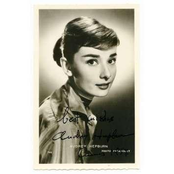 AUDREY HEPBURN Original Signed Postcard 3,5x5,5 in. - 1957