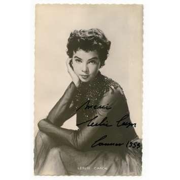 LESLIE CARON Original Signed Postcard 3,5x5,5 in. - 1953