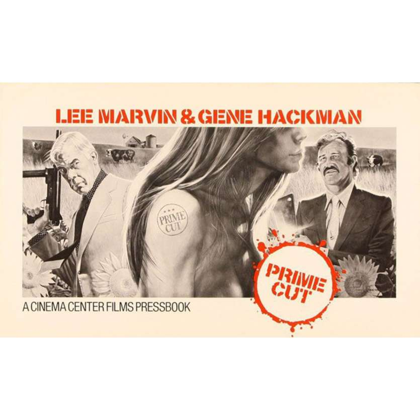 PRIME CUT pressbook '72 Lee Marvin with machine gun, Gene Hackman with meat cleaver!