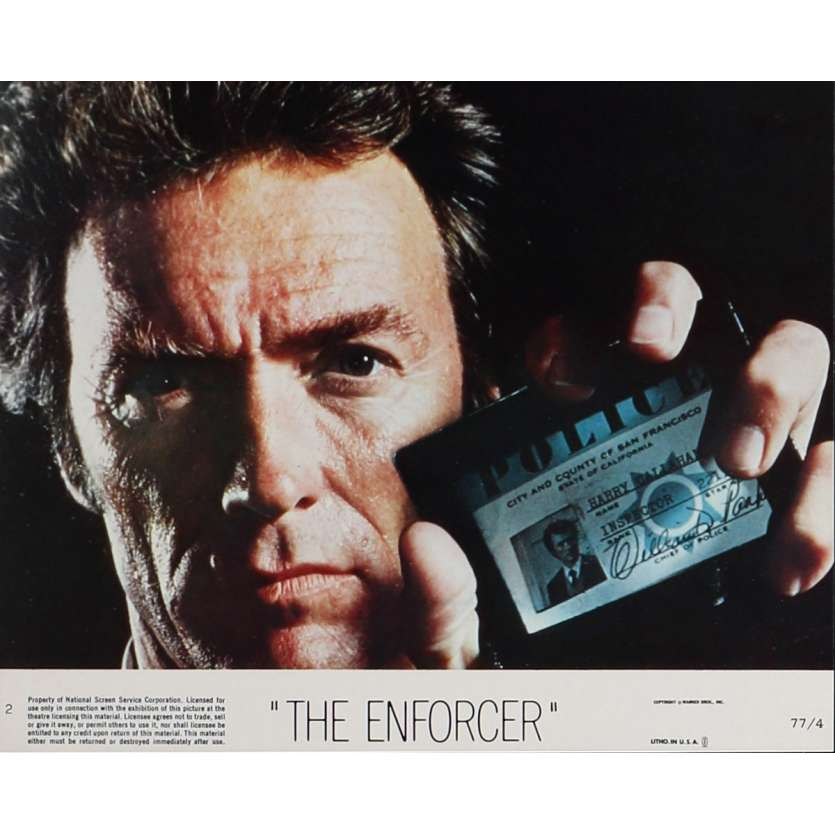 ENFORCER 8x10 mini LC 2 '76 super close up of Clint Eastwood as Dirty Harry with badge