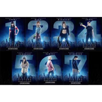 SEVEN SISTERS Movie Poster lot 15x21 in. - x7 2017 - Tommy Wirkola, Noomi Rapace