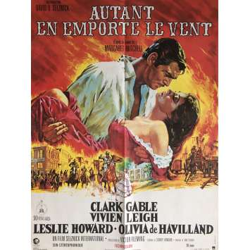 GONE WITH THE WIND Movie Poster 23x32 in. - R1980 - Victor Flemming, Clark Gable