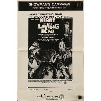 LA NUIT DES MORTS VIVANTS Dossier de presse US - 1968 - Romero, Zombies