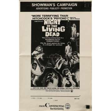 NIGHT OF THE LIVING DEAD pressbook '68 George Romero zombie classic, they lust for human flesh
