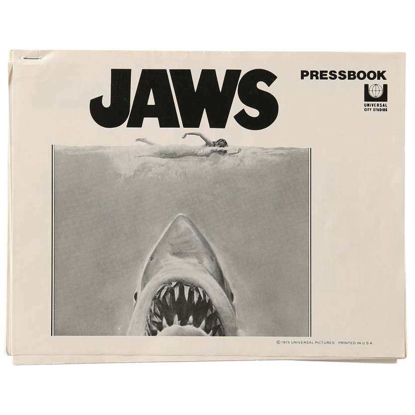 JAWS pressbook '75 art of Steven Spielberg's classic man-eating shark attacking sexy swimmer!