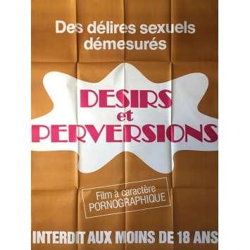 DESIRS ET PERVERSIONS Affiche de film érotique 120x160 cm - 1977 - Cathy Castel, Jean-Marie Ghanassia