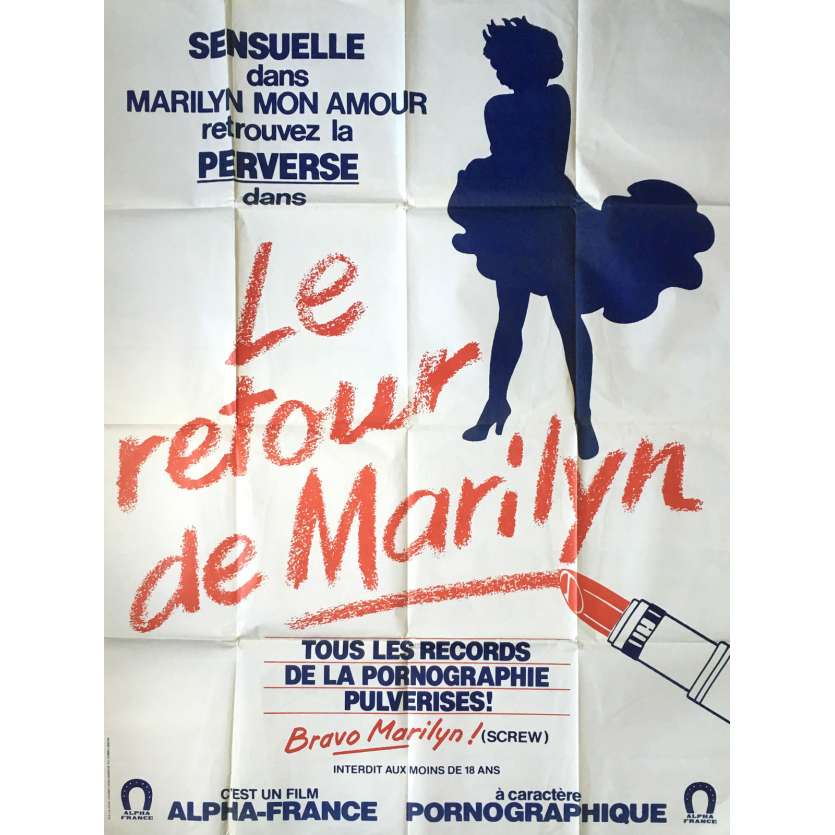 LE RETOUR DE MARILYN Adult Movie Poster 47x63 in. - 1986 - Michel Lemoine, Olinka, Marylin Jess