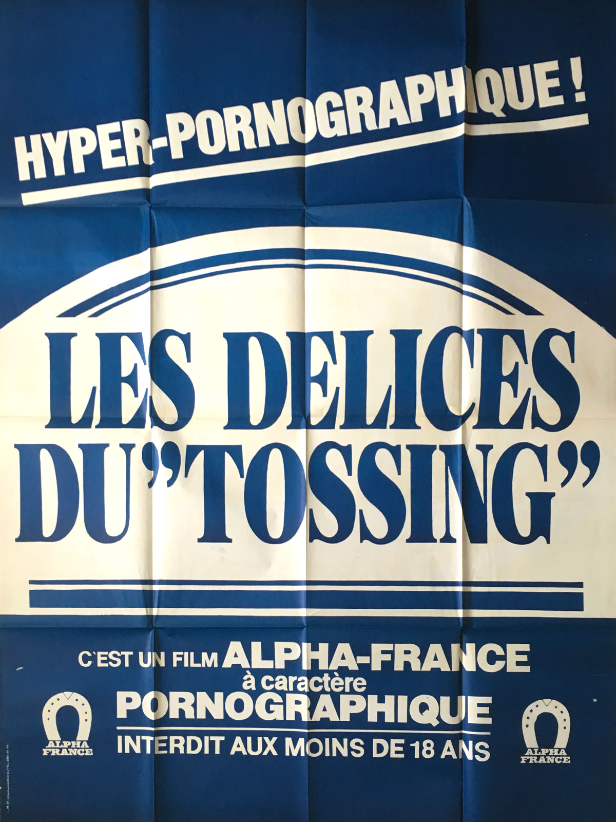Alpha Blue Movie les delices du tossing adult movie poster 47x63 in. - 1983 - gérard  kikoïne, catherine greiner