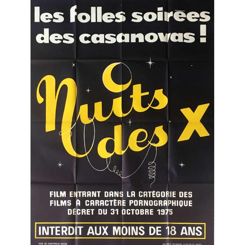 NUIT DES X Affiche de film érotique 120x160 cm - 1977 - Martine Grimaud, Daniel Daërt