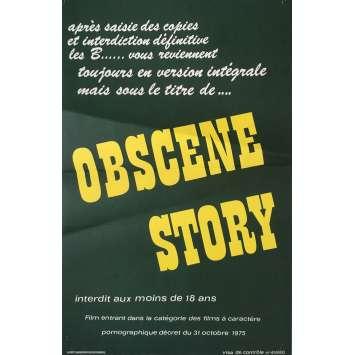 OBSCENE STORY Adult Movie Poster 15x21 in. - 1976 - Henri Sala, Martine Grimaud