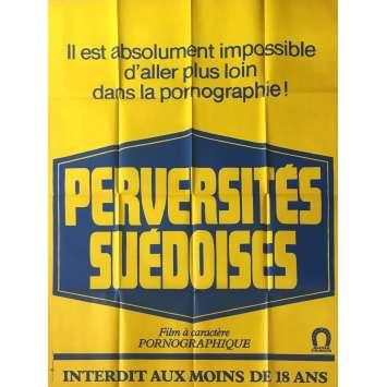 PERVERSITES SUEDOISES Affiche de film érotique 120x160 cm - 1977 - Carole Gire, Jean-Claude Roy