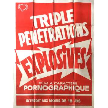 TRIPLES PENETRATIONS EXPLOSIVES Affiche de film érotique 120x160 cm - 1978 - Christine Chavert, Claude Pierson