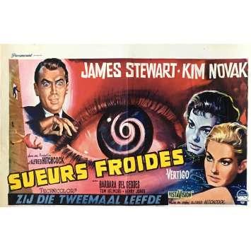 SUEURS FROIDES Affiche de film - 35x55 cm. - 1958 - James Stewart, Alfred Hitchcock