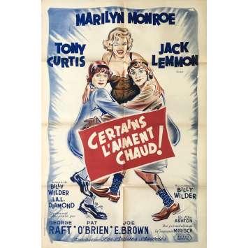 CERTAINS L'AIMENT CHAUD Affiche de film - 80x120 cm. - 1959 - Marilyn Monroe, Billy Wilder