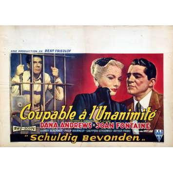BEYOND A REASONABLE DOUBT Movie Poster - 14x21 in. - 1956 - Fritz Lang, Joan Fontaine
