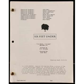 SIX FEET UNDER - I'M SORRY I'M LOST Movie Script - 9x12 in. - 2003 - Alan Ball, Jill Soloway