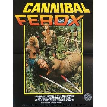 CANNIBAL FEROX Affiche de film - 40x60 cm. - 1981 - Giovanni Lombardo Radice, Umberto Lenzi