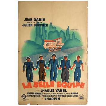 LA BELLE EQUIPE Affiche de cinéma originale - 40x60 cm. - 1936 - Jean Gabin, Julien Duvivier