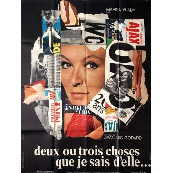 2 OR 3 THINGS I KNOW ABOUT HER Movie Poster - 47x63 in. - 1967 - Jean-Luc Godard, Marina Vlady