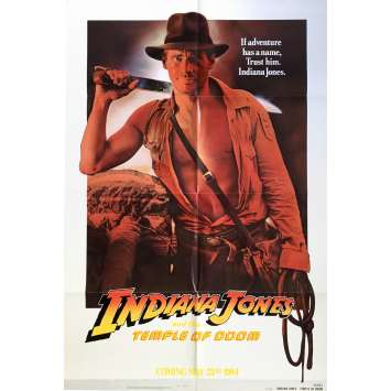 INDIANA JONES AND THE TEMPLE OF DOOM Movie Poster Rejected Version - 29x41 in. - 1984 - Steven Spielberg, Harrison Ford