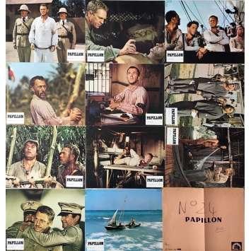 PAPILLON Lobby Cards x11 - 9x12 in. - 1973 - Franklin J. Schaffner, Steve McQueen