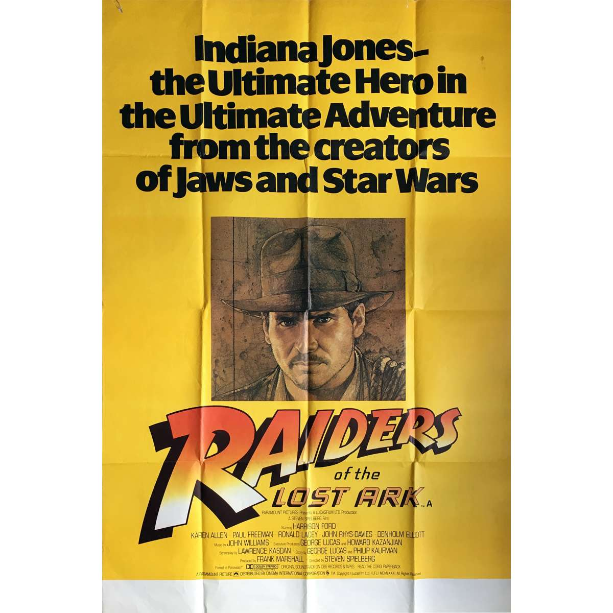 INDIANA JONES - RAIDERS OF THE LOST ARK Movie Poster - 40x60 in  - 1981 -  Steven Spielberg, Harrison Ford