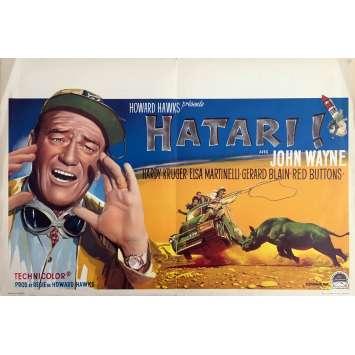 HATARI ! Affiche de film - 35x55 cm. - 1962 - John Wayne, Howard Hawks