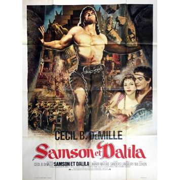 SAMSON AND DELILAH Movie Poster 47x63 in. French - R1970 - Cecil B. DeMile, Victor Mature