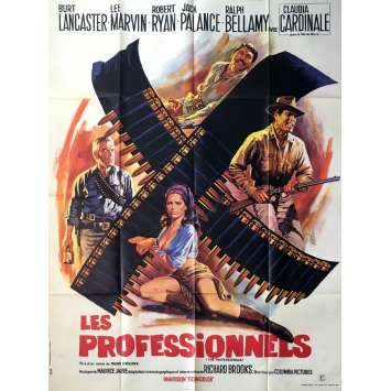 LES PROFESSIONNELS Affiche de Film 120x160 - 1966 - Burt Lancaster, Richard Brooks