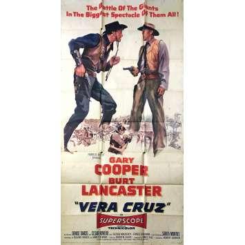 VERA CRUZ Affiche de film - 104x206 cm. - 1954 - Gary Cooper, Robert Aldrich