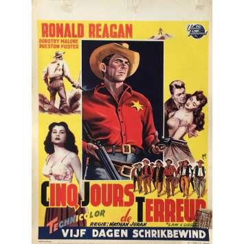 CINQ JOURS DE TERREUR Affiche de film - 35x55 cm. - 1953 - Ronald Reagan, Nathan Juran