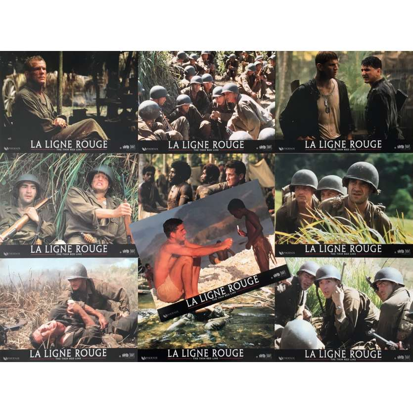 THE THIN RED LINE Lobby Cards x10 - 9x12 in. - R1980 - Terrence Malick, Sean Penn