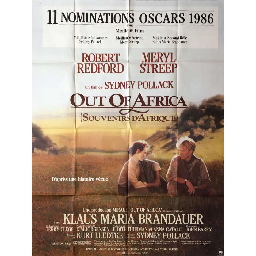 OUT OF AFRICA French Movie Poster 47x63 '84 Robert Redford, Meryl Streep