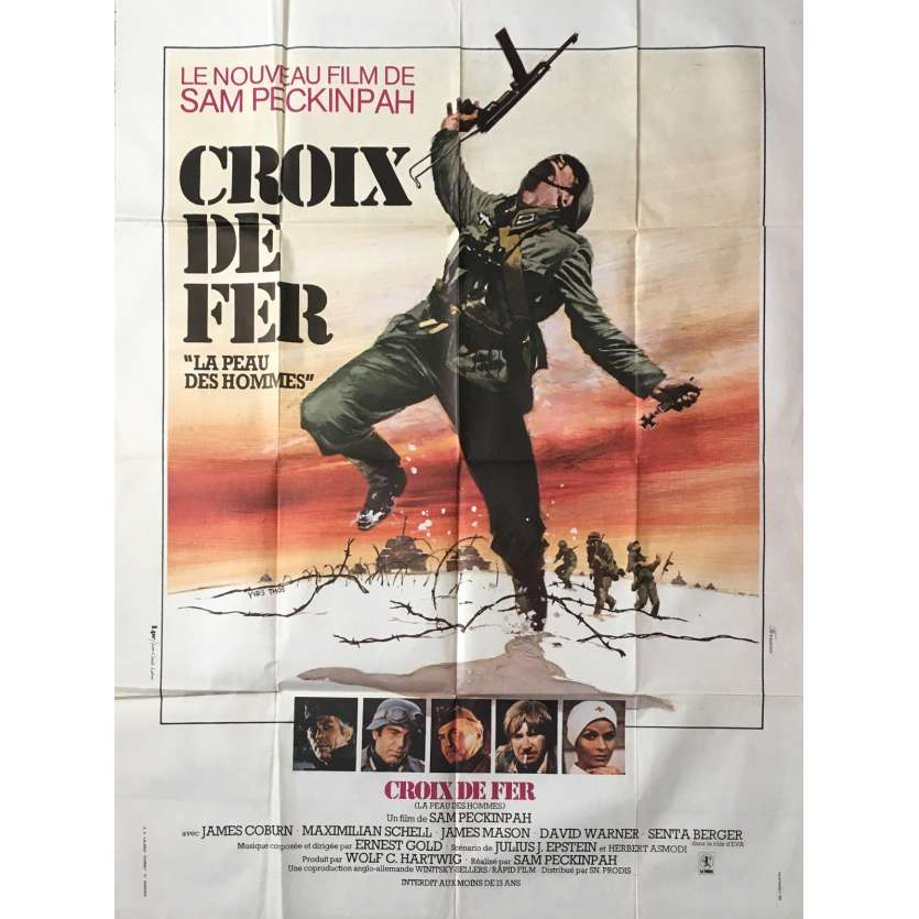 CROSS OF IRON French Movie Poster 47x63- 1977 - Sam Peckinpah, James Coburn