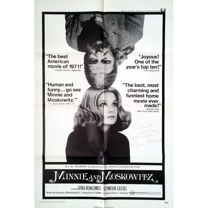 MINNIE AND MOSKOVITZ Movie Poster Signed - 29x41 in. - 1971 - John Cassavetes, Gena Rowlands
